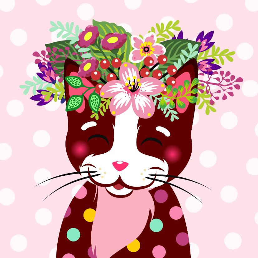 Verjaardagskaarten - Vrolijke en kleurrijke verjaardagskaart met kat en bloemen