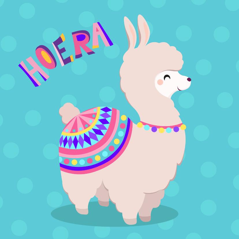 Verjaardagskaarten - Vrolijke en kleurrijke verjaardagskaart met lieve alpaca