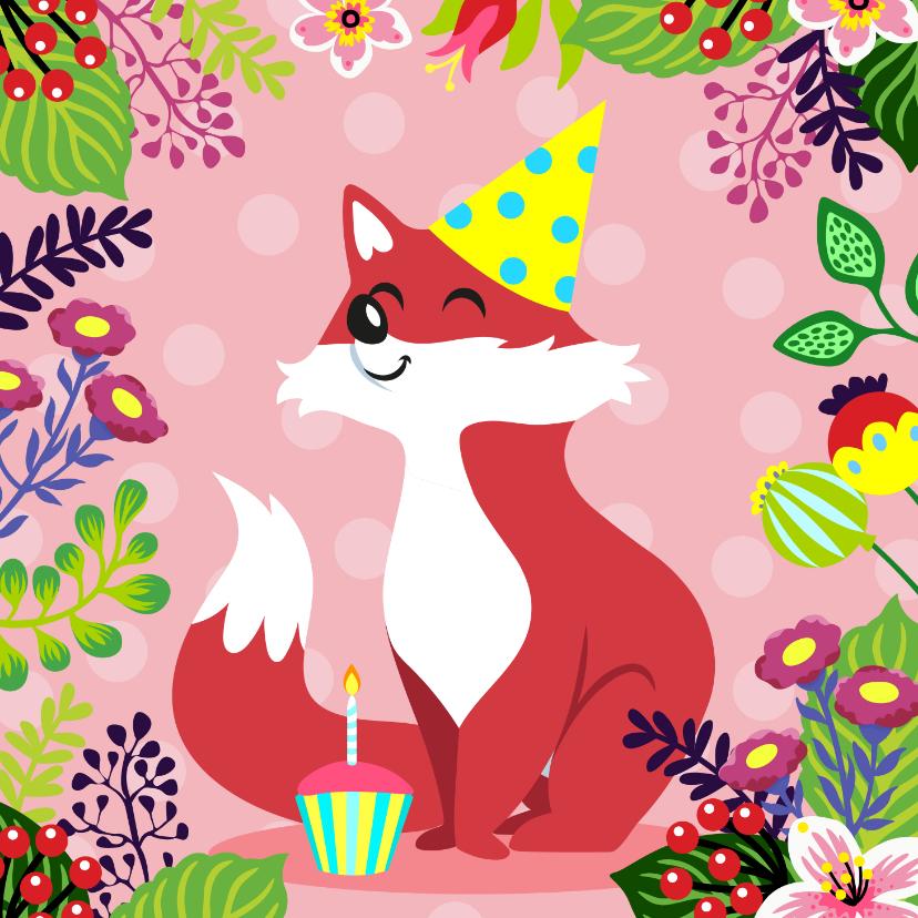 Verjaardagskaarten - Vrolijke en kleurrijke verjaardagskaart met vosje en bloemen