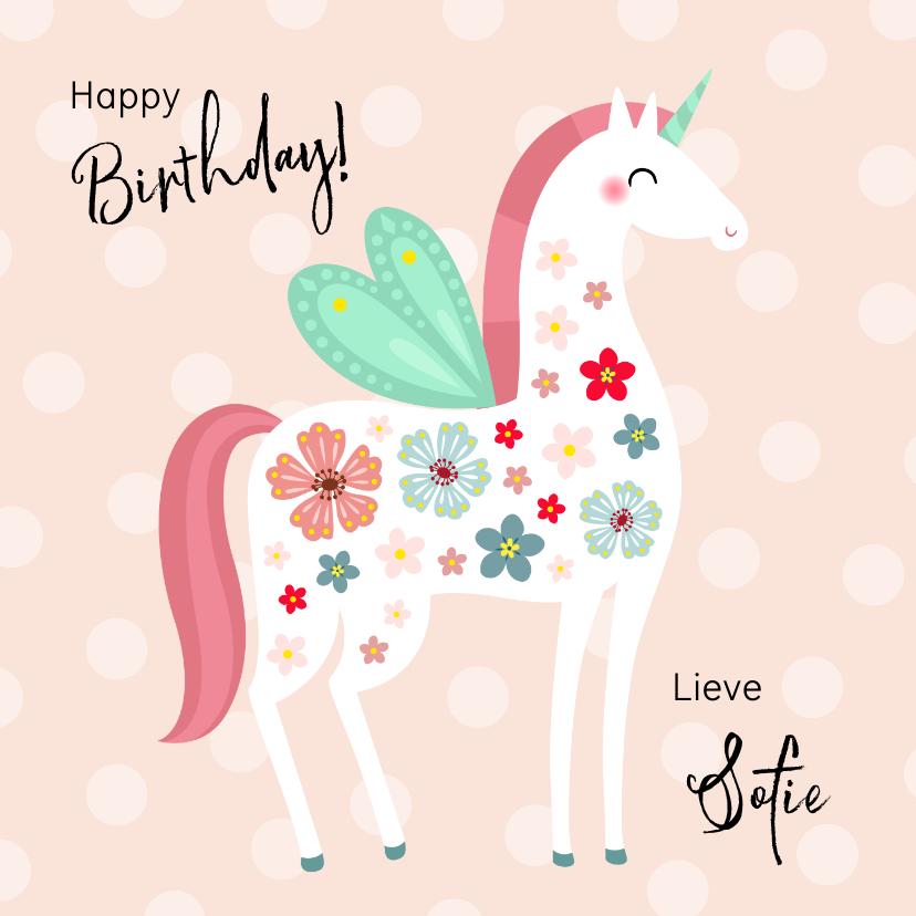 Verjaardagskaarten - Vrolijke en kleurrijke verjaardagskaart unicorn met vleugels