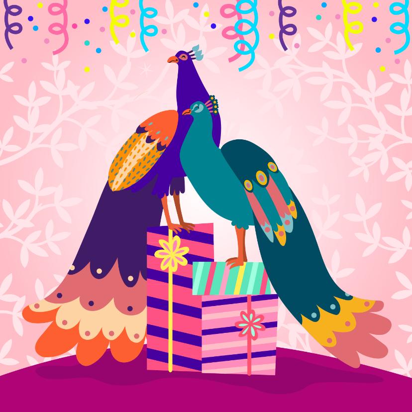 Verjaardagskaarten - Vrolijke en stijlvolle verjaardagskaart met pauwen