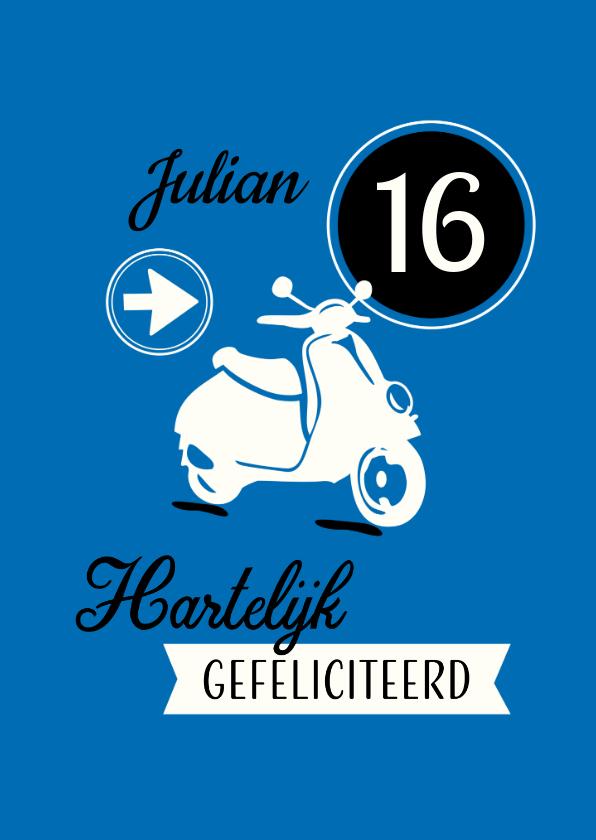 Verjaardagskaarten - Vrolijke felicitatiekaart met eigen naam en scooter