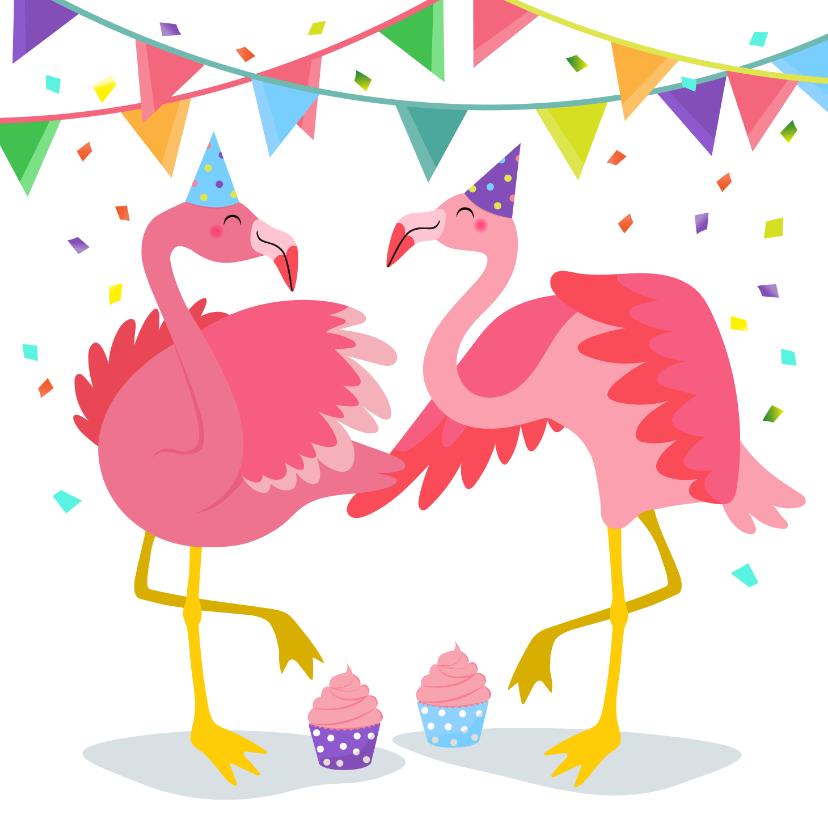 Verjaardagskaarten - Vrolijke flamingo verjaardagskaart met slingers