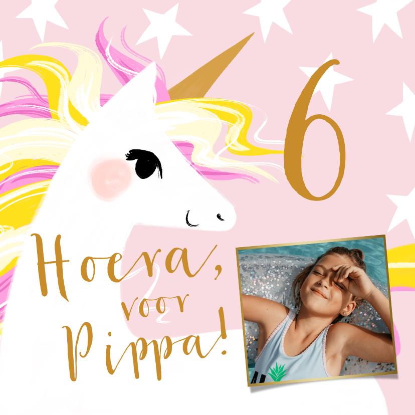 Verjaardagskaarten - Vrolijke kaart met geïllustreerde unicorn en sterren