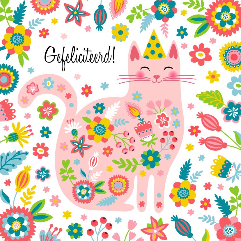 Verjaardagskaarten - Vrolijke kat met bloemen kleurrijke verjaardagskaart
