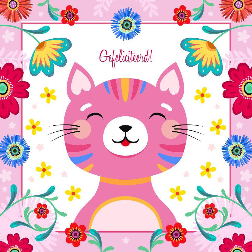Verjaardagskaarten - Vrolijke kat verjaardagskaart met kleurrijke bloemen