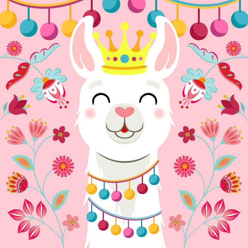 Verjaardagskaarten - Vrolijke lama met kroon verjaardagskaart