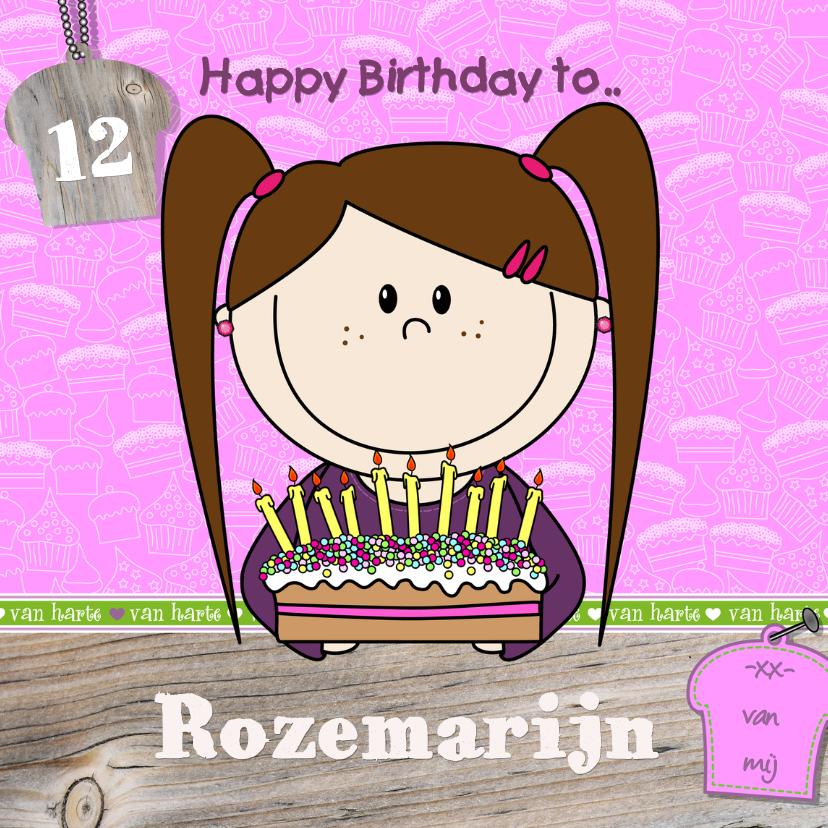 Verjaardagskaarten - vrolijke verjaardagskaart MEISJE TAART