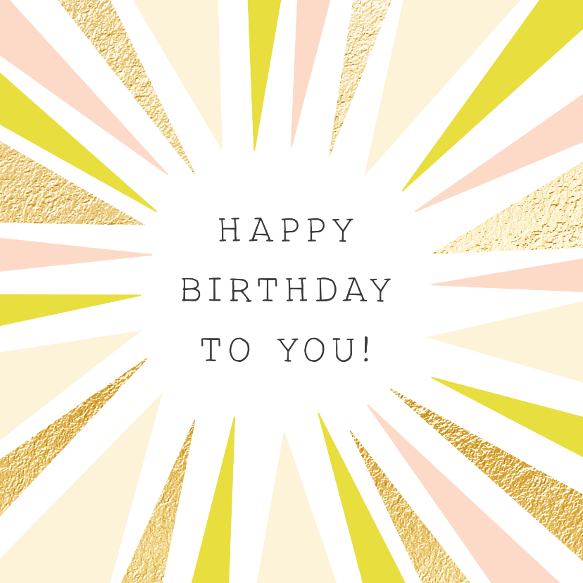 Verjaardagskaarten - Vrolijke verjaardagskaart met abstracte zon