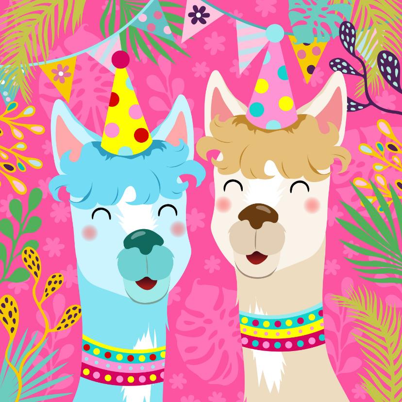 Verjaardagskaarten - Vrolijke verjaardagskaart met alpaca's slingers en bloemen