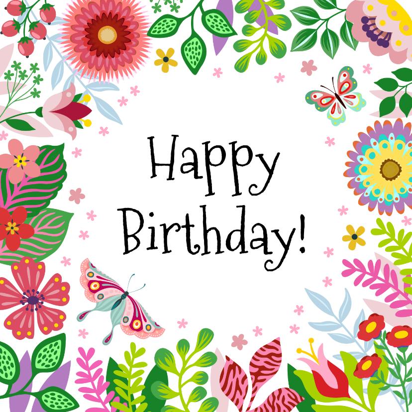 Verjaardagskaarten - Vrolijke verjaardagskaart met bloemen en vlinders