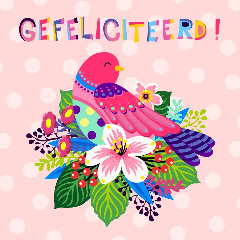 Verjaardagskaarten - Vrolijke verjaardagskaart met bloemen en vogel