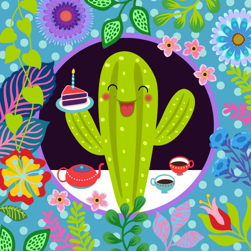 Verjaardagskaarten - Vrolijke verjaardagskaart met cactus en bloemen