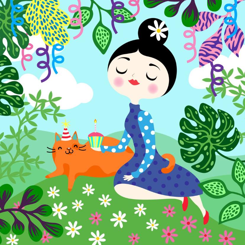Verjaardagskaarten - Vrolijke verjaardagskaart met dame, kat, planten en slingers