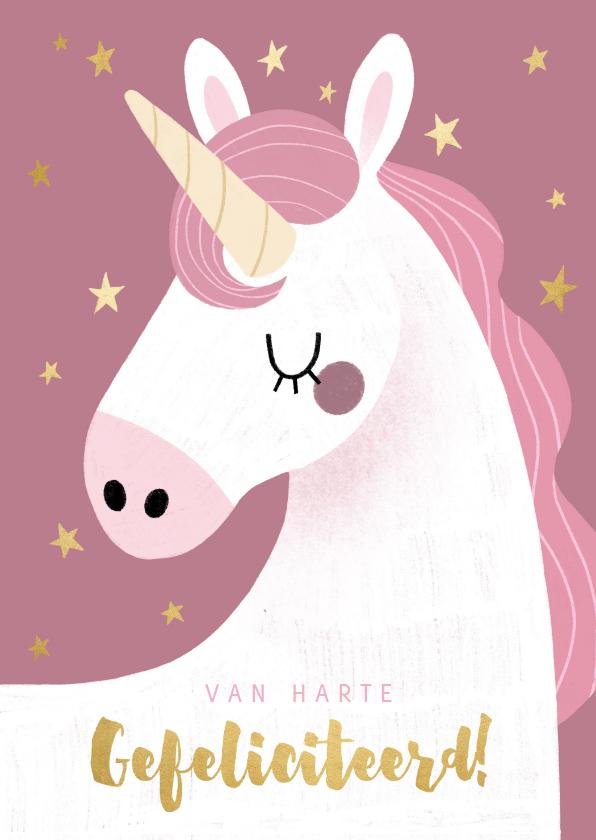 Verjaardagskaarten - Vrolijke verjaardagskaart met eenhoorn en gouden sterren