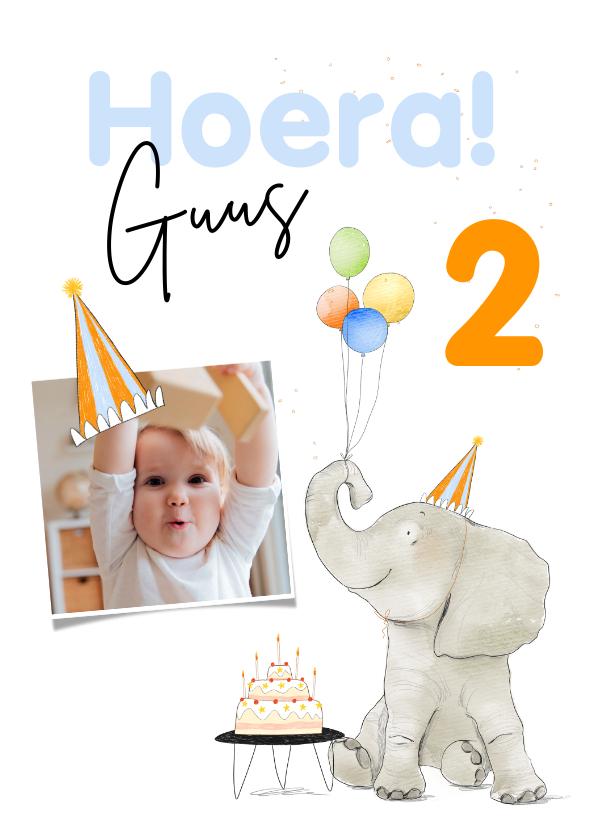 Verjaardagskaarten - Vrolijke verjaardagskaart met feestelijke olifant