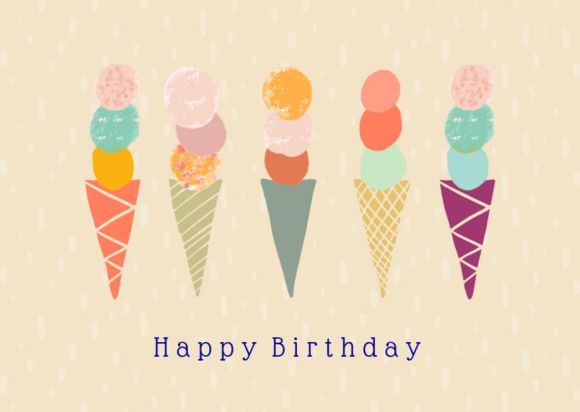 Verjaardagskaarten - Vrolijke verjaardagskaart met ijsjes op een rijtje