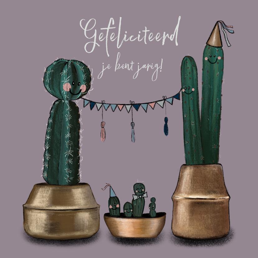 Verjaardagskaarten - Vrolijke verjaardagskaart met illustratie cactussen