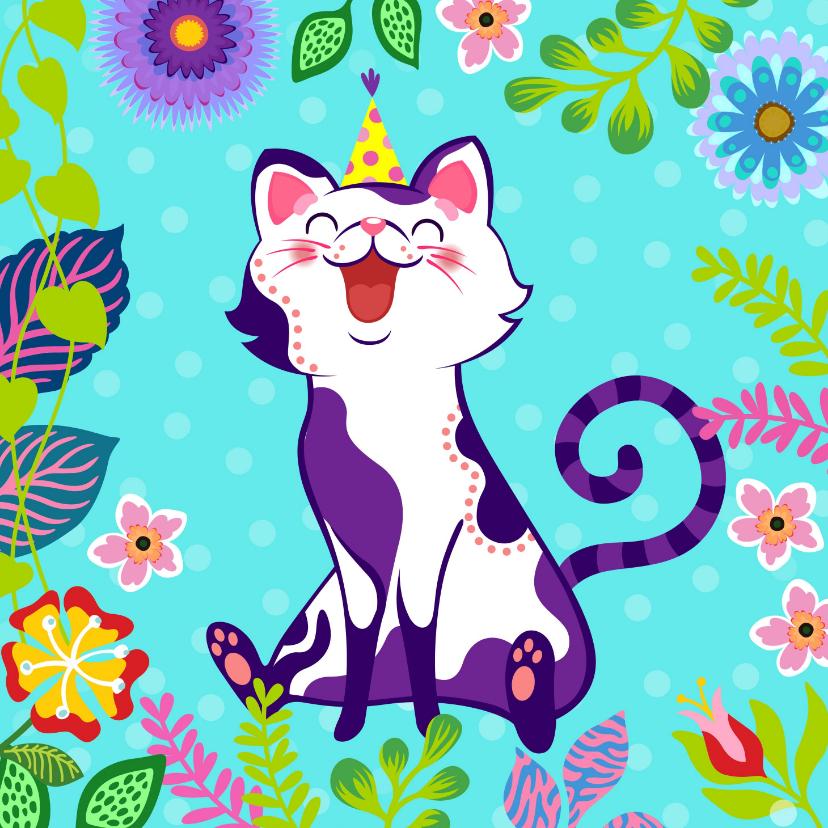 Verjaardagskaarten - Vrolijke verjaardagskaart met kat, bloemen en planten