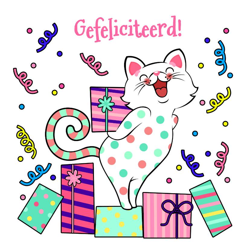 Verjaardagskaarten - Vrolijke verjaardagskaart met kat met cadeau
