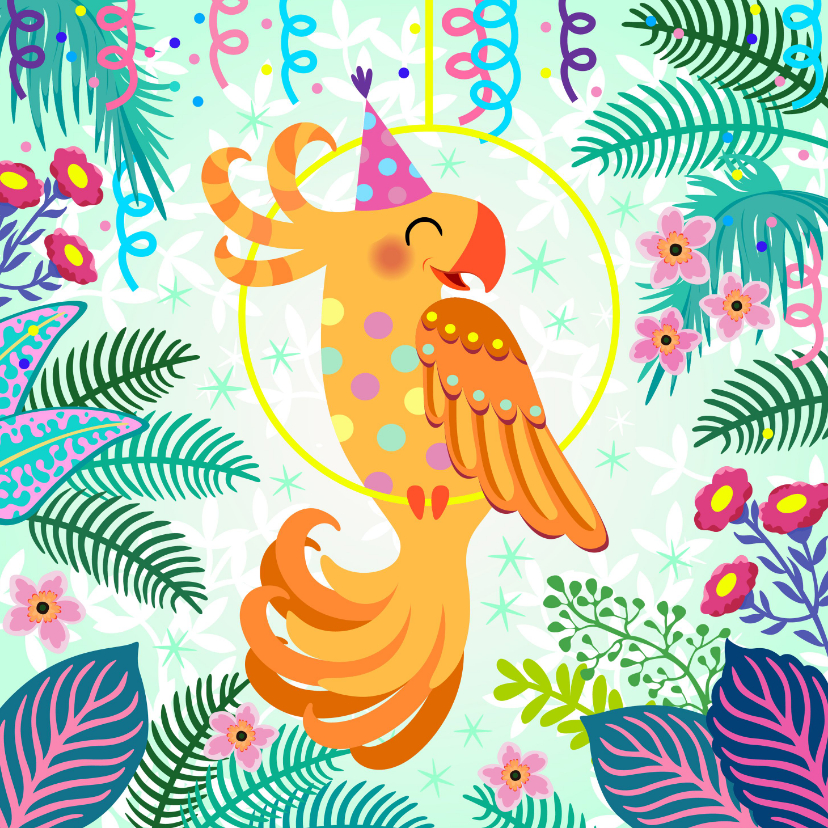 Verjaardagskaarten - Vrolijke verjaardagskaart met papegaai en bloemen