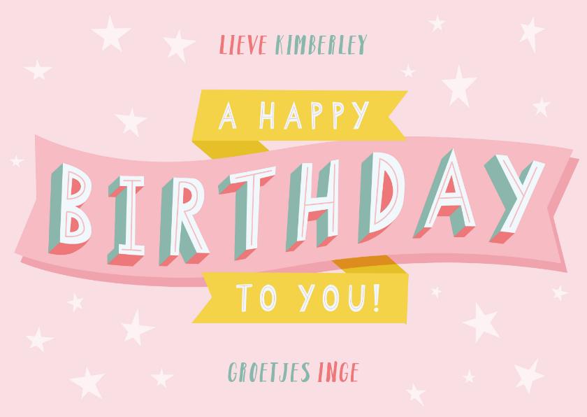 Verjaardagskaarten - Vrolijke verjaardagskaart met typografie en sterren