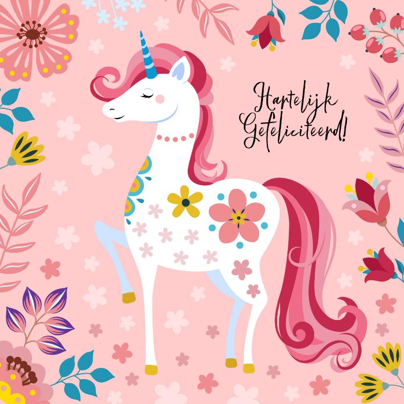 Verjaardagskaarten - Vrolijke verjaardagskaart met unicorn en bloemen