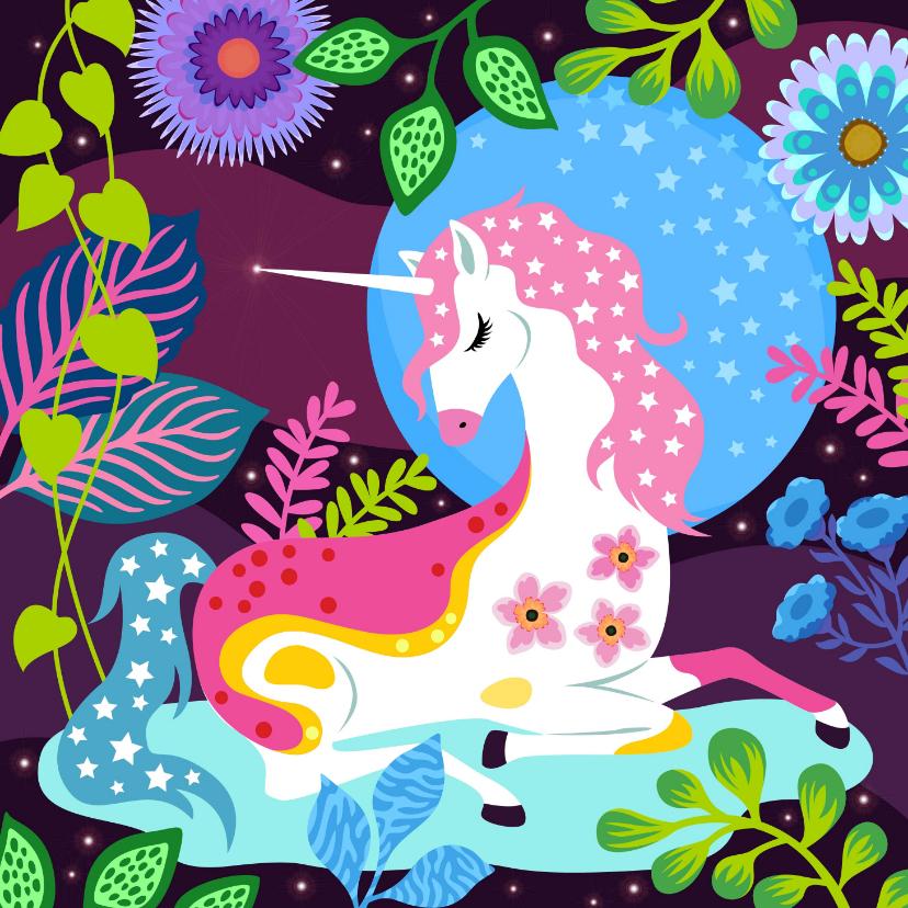 Verjaardagskaarten - Vrolijke verjaardagskaart met unicorn, sterren en planten