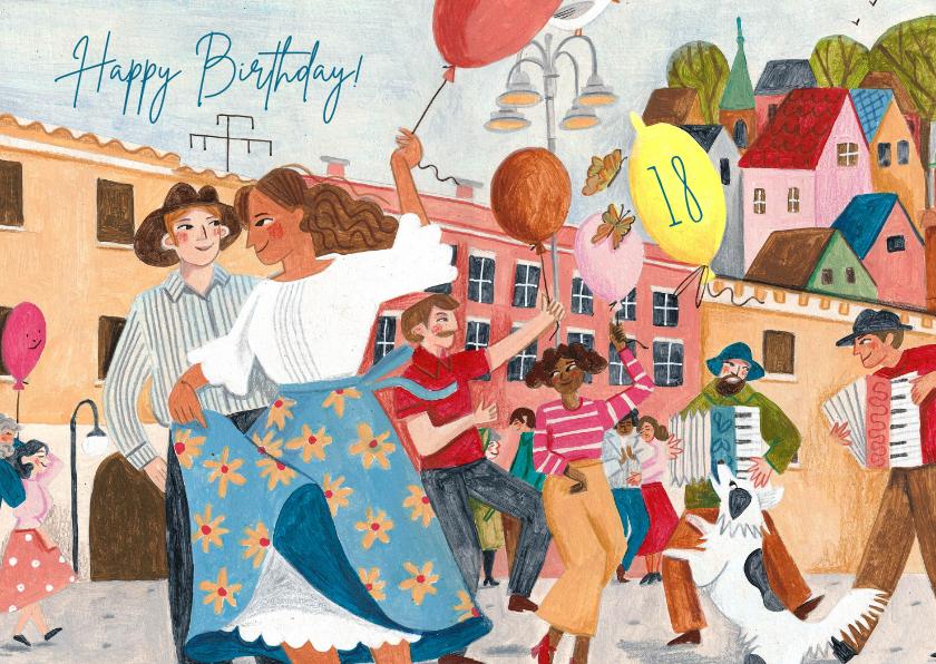 Verjaardagskaarten - Vrolijke verjaardagskaart straat feestje ballonnen