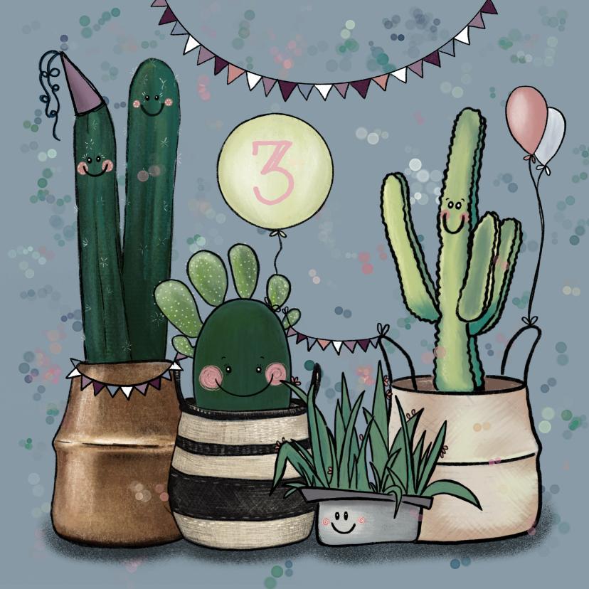 Verjaardagskaarten - Vrolijke verjaardagskaart vol feestvierende cactussen