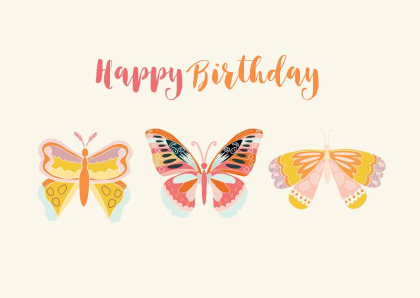 Verjaardagskaarten - Vrolijke vlinder verjaardagskaart