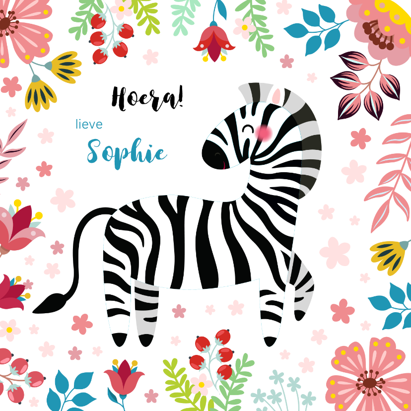 Verjaardagskaarten - Vrolijke zebra verjaardagskaart kind