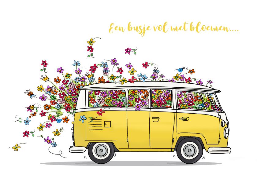 VW bus geel met bloemen 1
