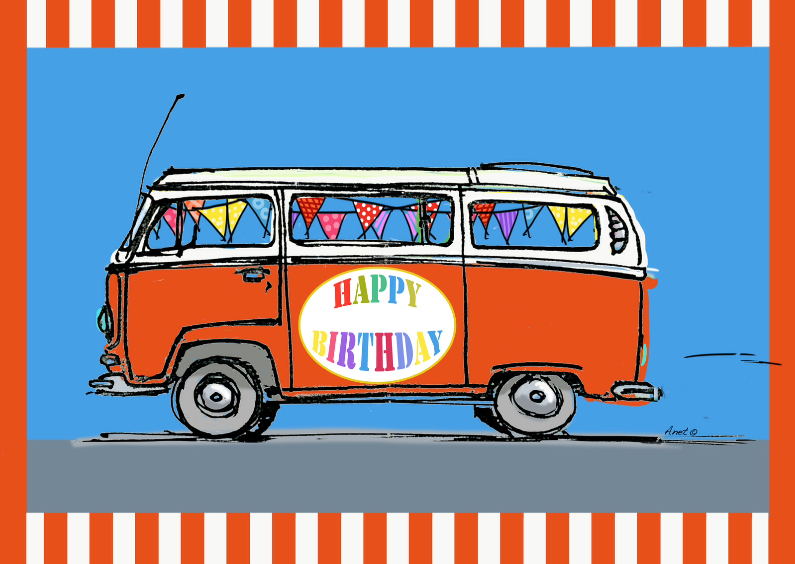 Verjaardagskaarten - VW bus met vlaggetjes Anet Illustraties