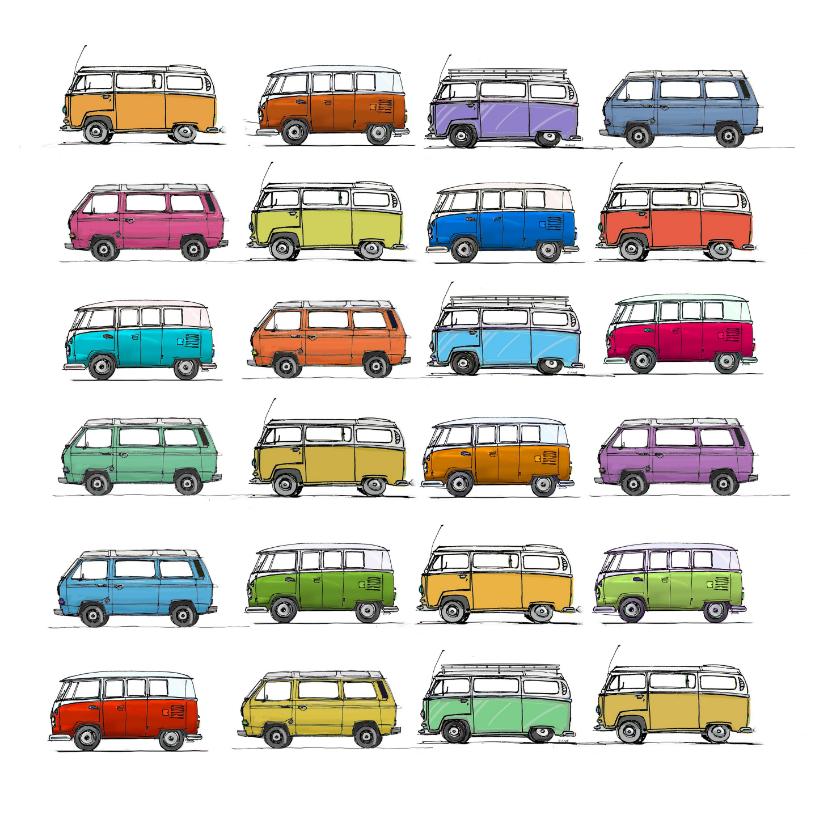 Verjaardagskaarten - VW bus T1T2T3 vierkant