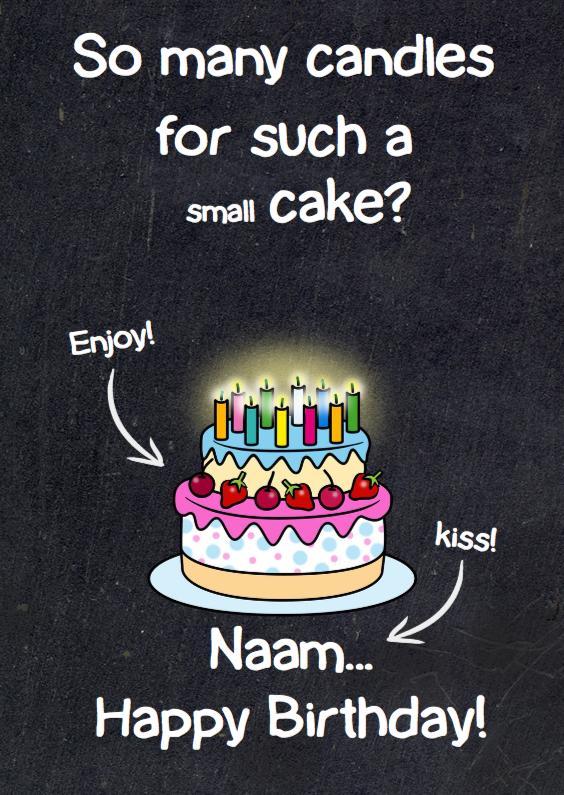 Verjaardagskaarten - Witte teksten op krijtbord taart