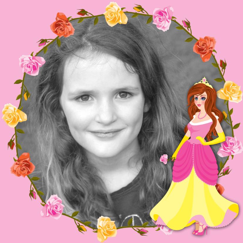 Verjaardagskaarten - YVON barbie 1 rozenkader eigen foto