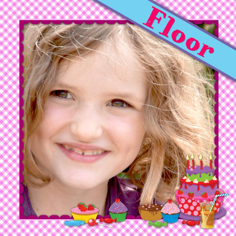Verjaardagskaarten - YVON eigen foto meisje taart naam