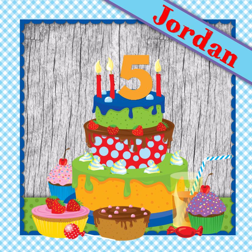 Verjaardagskaarten - YVON eigen naam & leeftijd jongen taart