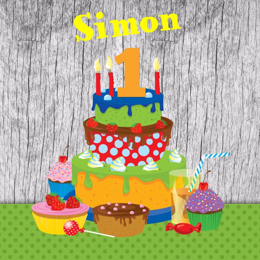 Verjaardagskaarten - YVON eigen naam & leeftijd taart jongen