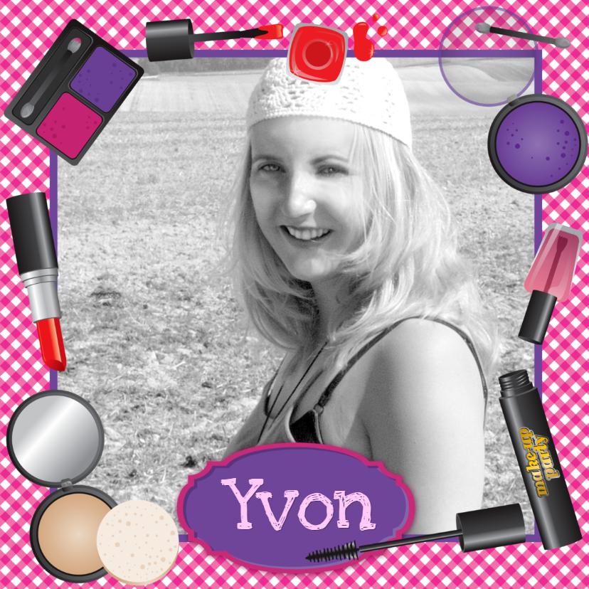 Verjaardagskaarten - YVON make up eigen foto tiener meisje