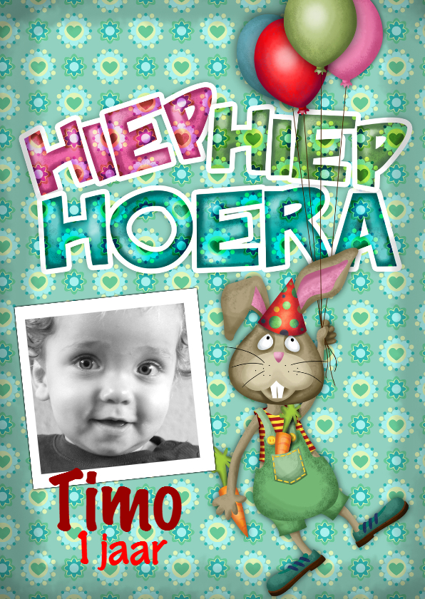 Verjaardagskaarten - YVON straat konijn ballonnen eigen foto