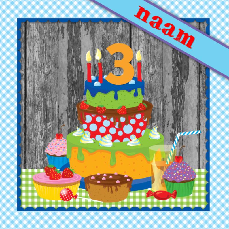 Verjaardagskaarten - YVON taart eigen naam & leeftijd jongen