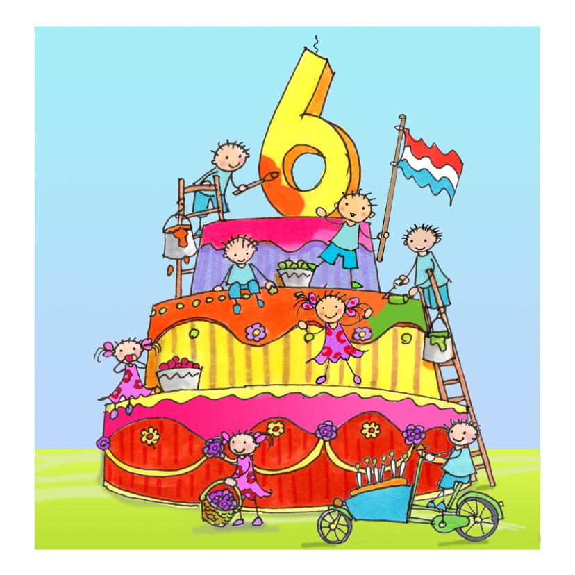Verjaardagskaarten - zes jaar anet illustraties
