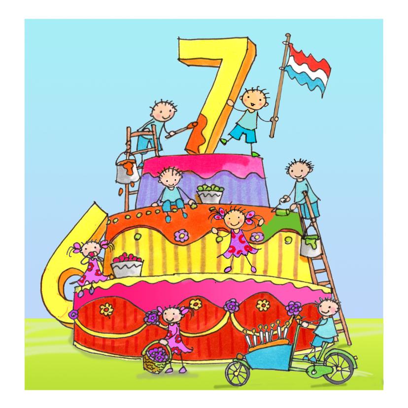 Verjaardagskaarten - zeven jaar anet illustraties