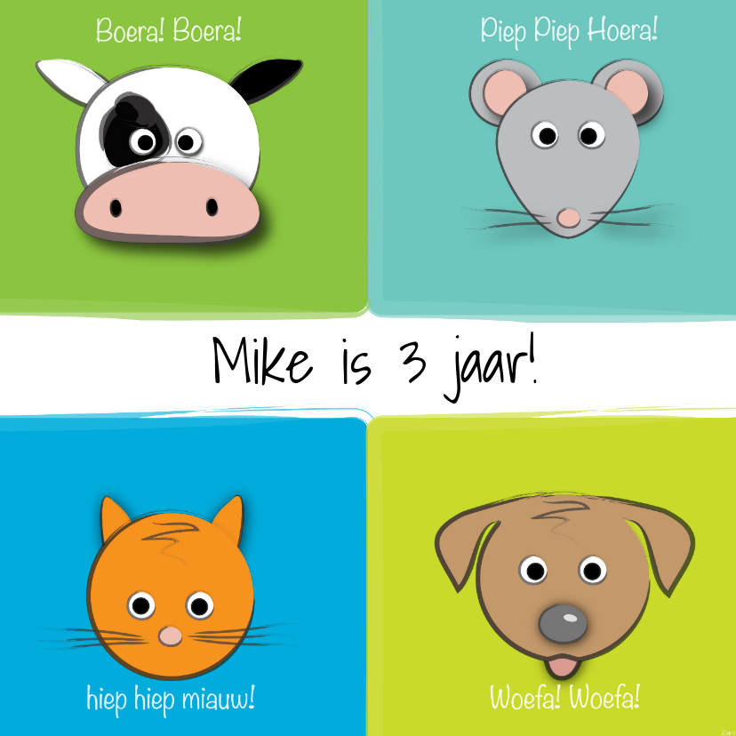 Verjaardagskaarten - Zoe-t dierenkaart met naam en leeftijd