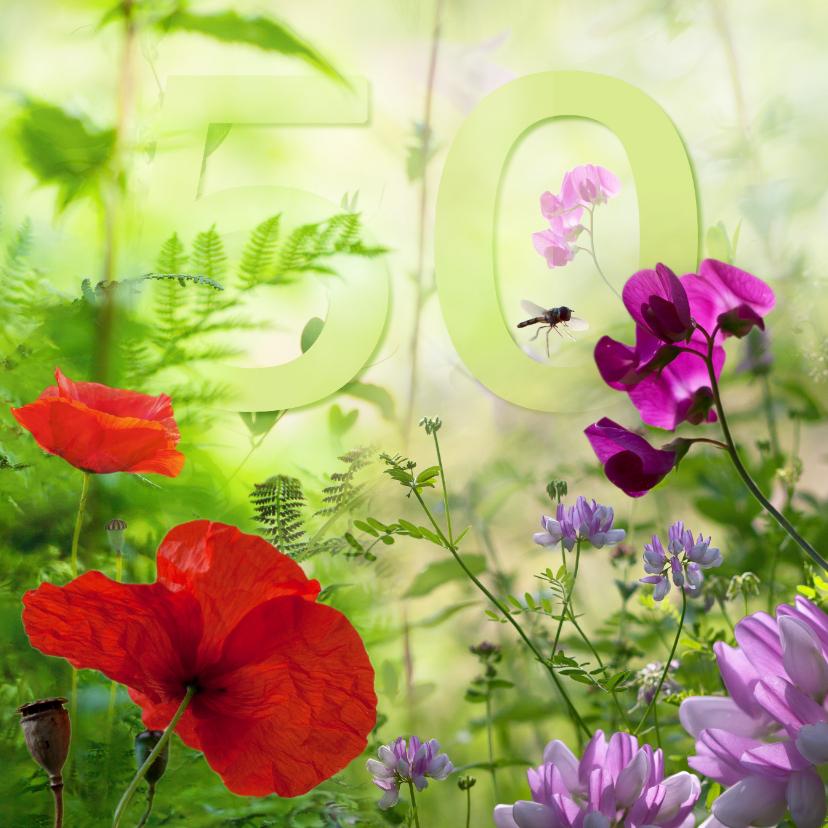 Verjaardagskaarten - Zomerbloemen met 50