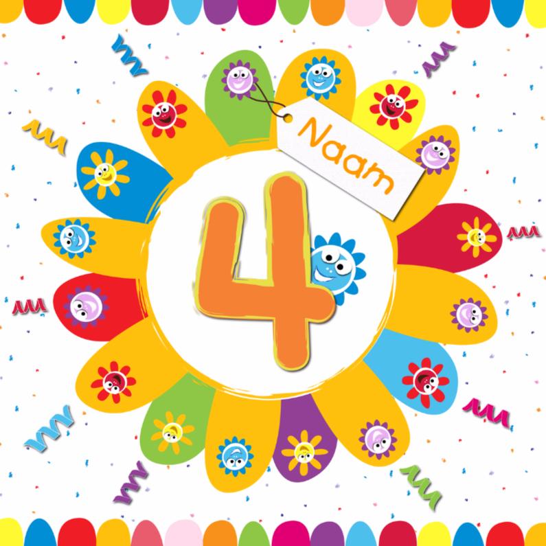 Verjaardagskaarten - zonnebloemen 4 jaar met eigen naam
