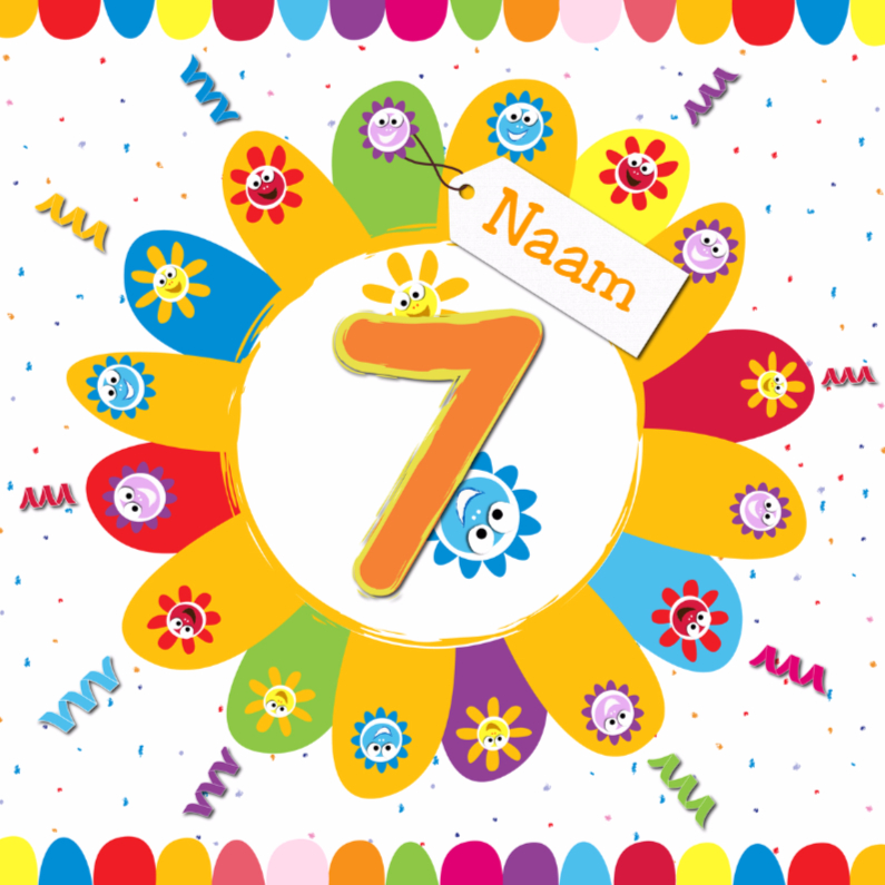 Verjaardagskaarten - zonnebloemen 7 jaar met eigen naam