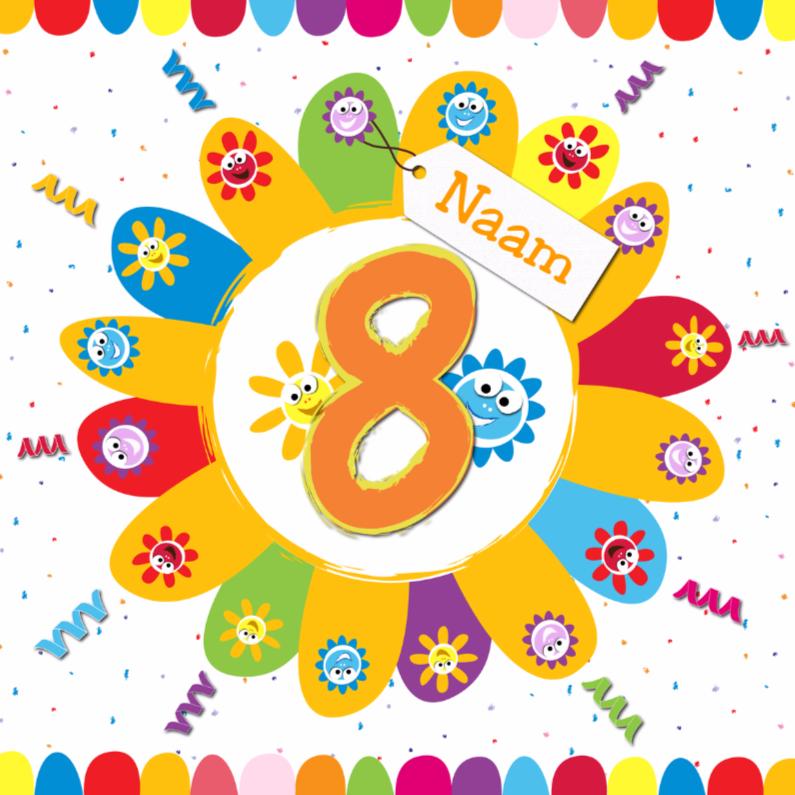 Verjaardagskaarten - zonnebloemen 8 jaar met eigen naam